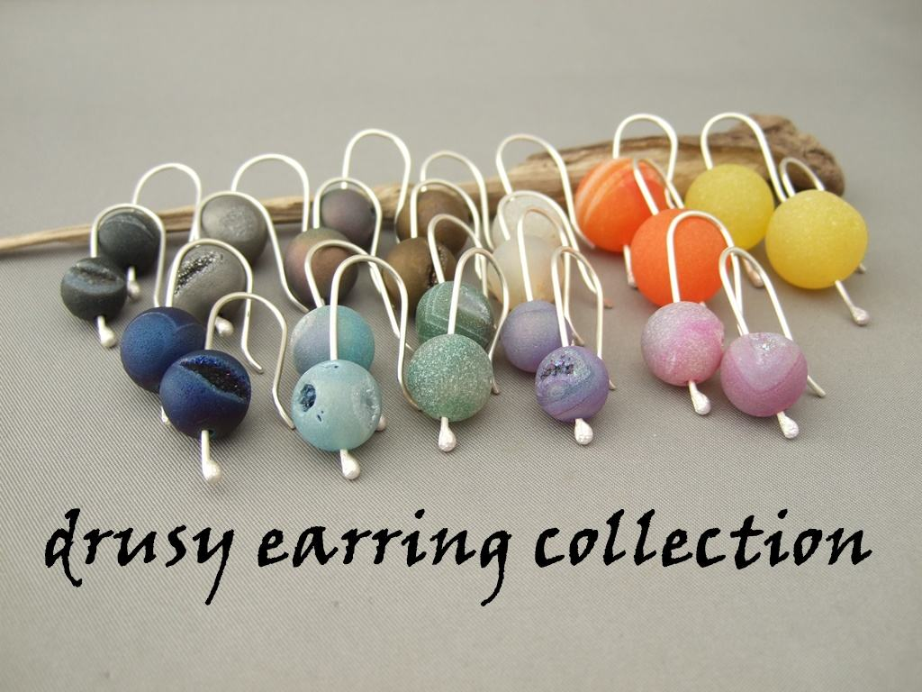 Drusy Agate and Sterling Silver Earring Collection