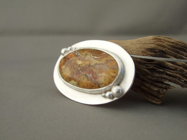 Regency Rose Plume Agate and Sterling Silver Pendant