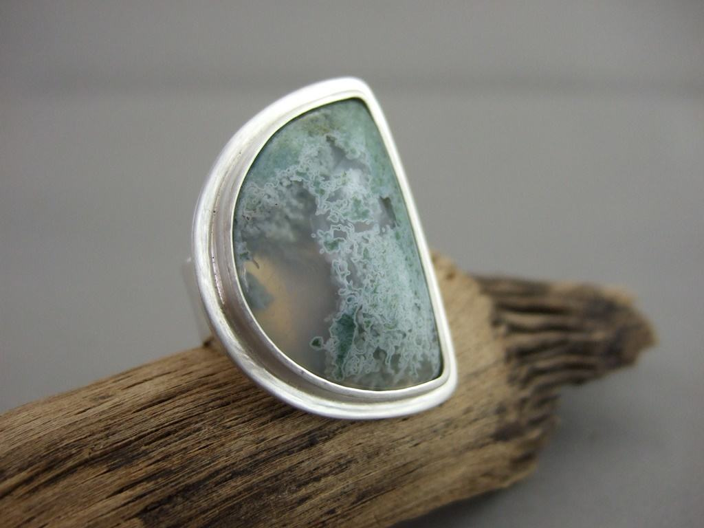 Moss Agate and Sterling Silver Ring