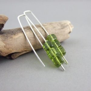 Olive Green Cube Earrings