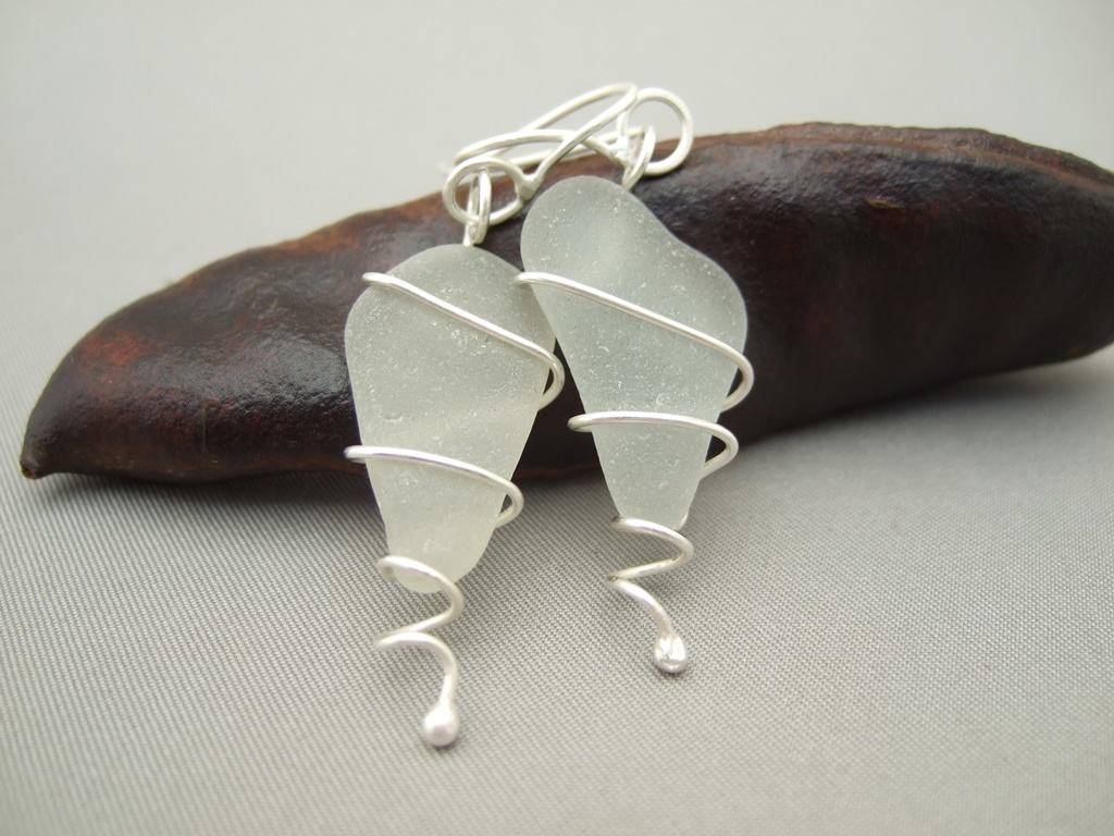 White Seaglass and Sterling Silver Earrings