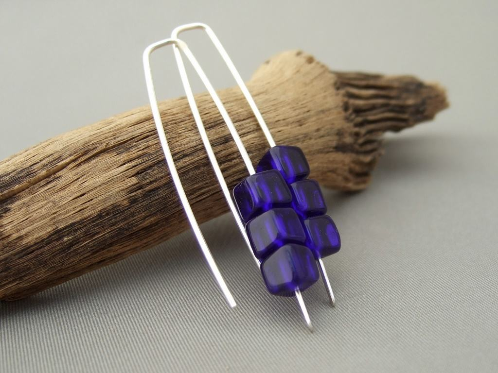 Indigo Blue Cube Czech Glass and Sterling Silver Earrings