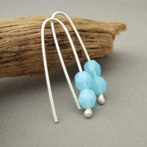 Pale Blue Earrings - Blue Summer Sky Faceted Czech Glass and Sterling Silver Drop Earrings