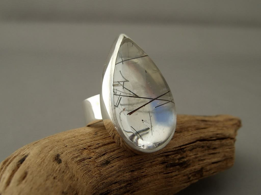 Tourmalated Quartz and Sterling Silver Ring