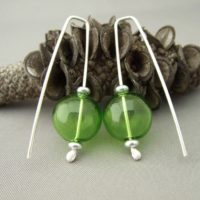 Green Bubble Earrings - Handblown Glass and Sterling Silver Earrings