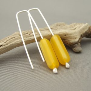 Sunshine Yellow Czech Glass Tube and Sterling Silver Earrings