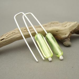 Lemon Earrings - Long Lemon Yellow Tube Czech Glass and Sterling Silver Earrings