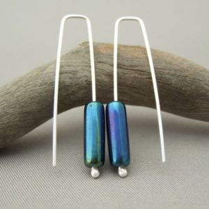Peacock Earrings - Long Shimmering Tube Czech Glass and Sterling Silver Earrings