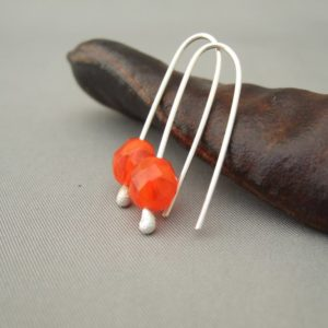 Orange Toffee Czech Glass and Sterling Silver Earrings