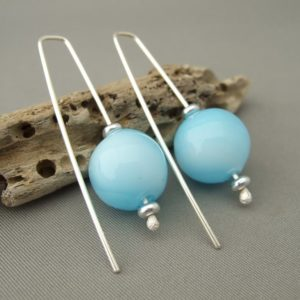 Pale Opaque Blue Handblown Glass Bubble and Sterling Silver Earrings