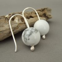 White Gemstone Earrings - Howlite and Sterling Silver Earrings