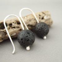 Black Gemstone Earrings - Lava and Sterling Silver Earrings