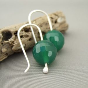 Green Gemstone Earrings - Faceted Green Agate and Sterling Silver Earrings