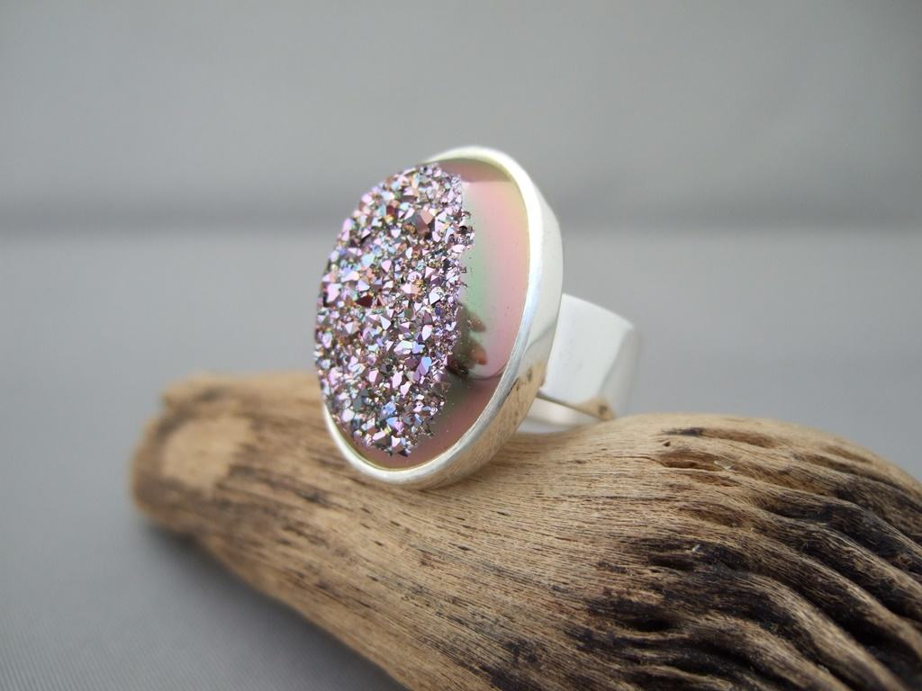 Pink Titanium-Coated Drusy and Sterling Silver Ring