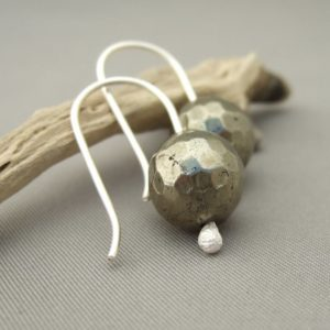 Iron Pyrite Gemstone and Sterling Silver Earrings