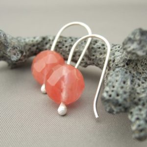 Cherry Quartz Gemstone and Sterling Silver Earrings