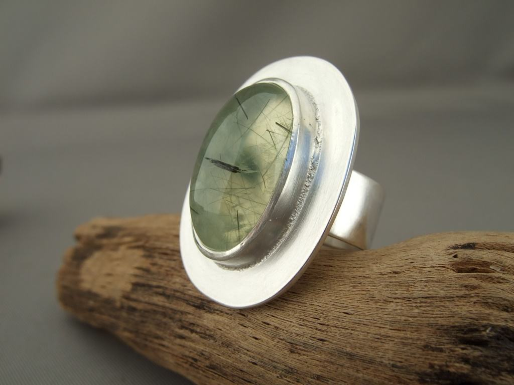 Prehnite and Sterling Silver Ring