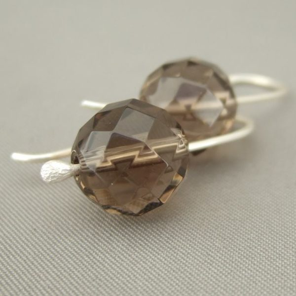 Sparkling Brown Gemstone Earrings - Faceted Smoky Quartz and Sterling Silver Earrings