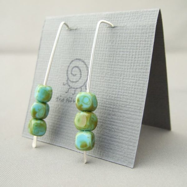 Picasso Green Czech Glass Cube and Sterling Silver Earrings