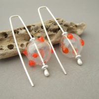 Orange Polkadot Handblown Glass and Sterling Silver Earrings