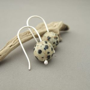 Dalmatian Obsidian and Sterling Silver Earrings