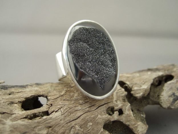Grey Titanium Coated Drusy Agate and Sterling Silver Ring