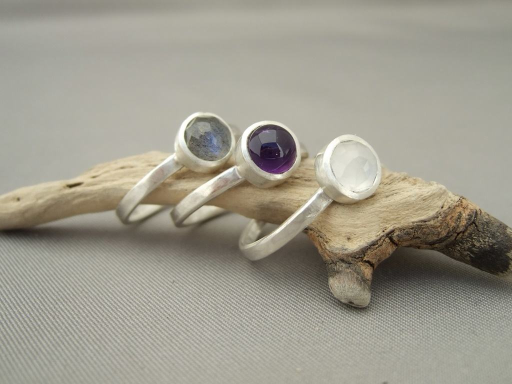 Amethyst, Labradorite and Moonstone Sterling Silver Stacking Rings