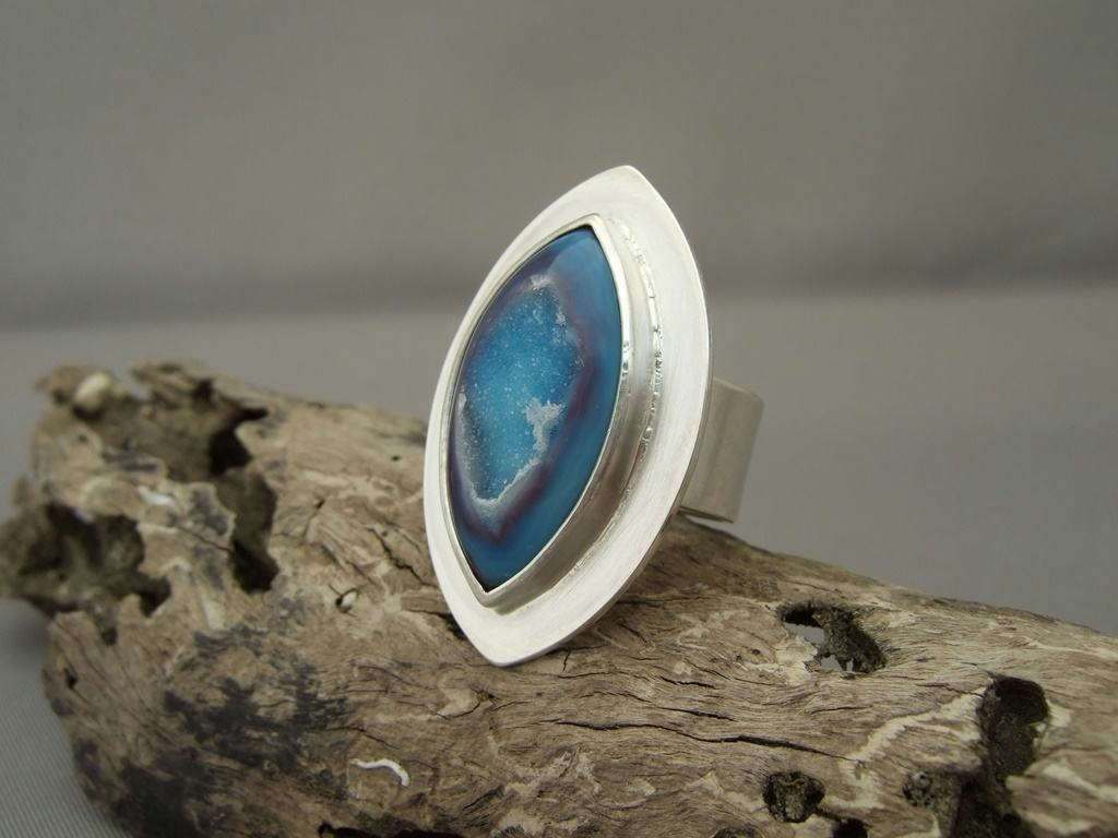 Dark and Light Blue Drusy Agate and Sterling Silver Ring