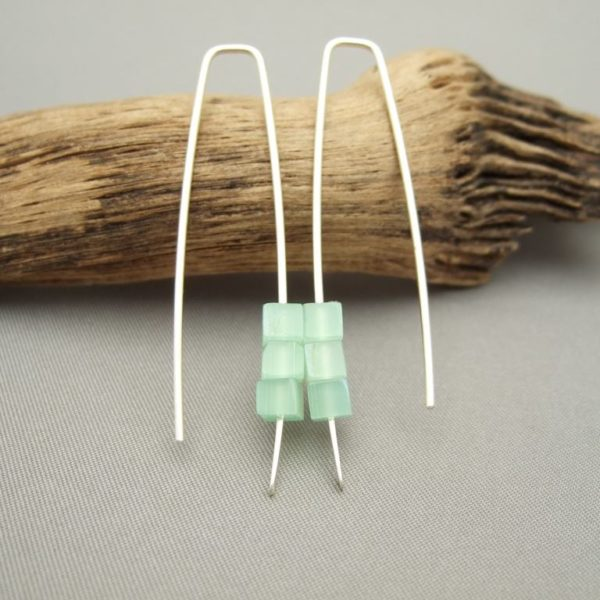 Fern Green Czech Glass Cube and Sterling Silver Earrings