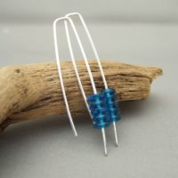 Airforce Blue Stacked Czech Glass and Sterling Silver Earrings