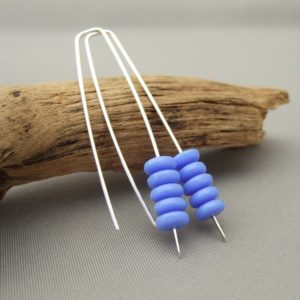 Hurtsickle Blue Czech Glass and Sterling Silver Earrings
