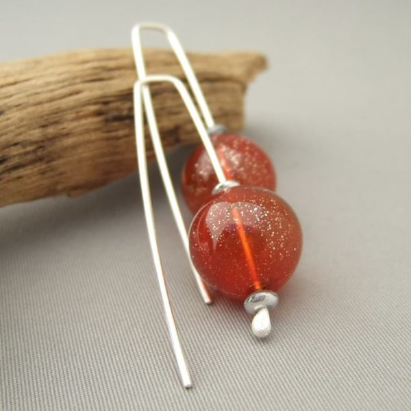 Sparkly Orange Handblown Glass Bubble and Sterling Silver Earrings