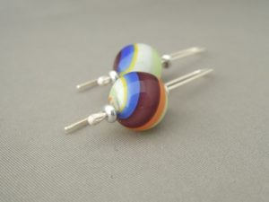 Retro Swirl Handblown Glass Bubble and Sterling Silver Earrings