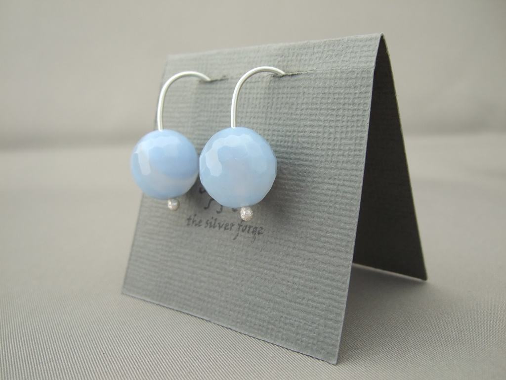 Blue Agate and Sterling Silver Earrings