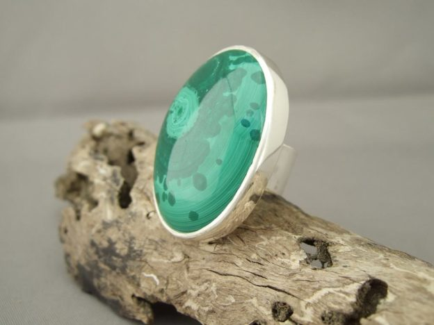 Malachite and Sterling Silver Statement Ring