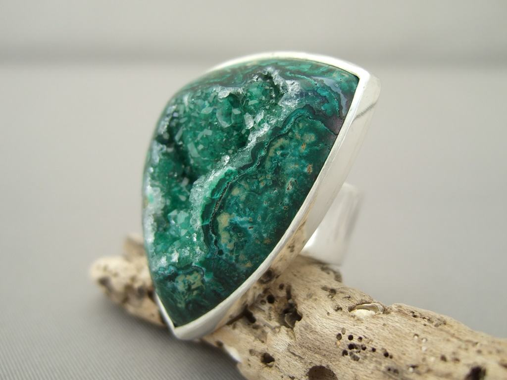 Freeform Green Drusy Agate and Sterling Silver Ring