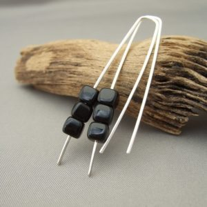 Sleek Black Czech Glass Cube and Sterling Silver Earrings