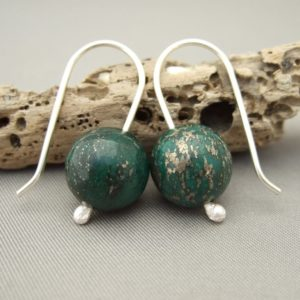 Green Pyrite and Sterling Silver Earrings