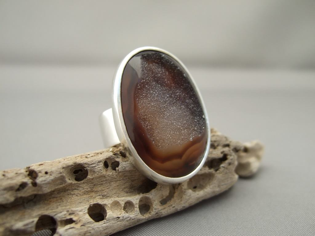 Cocoa Brown Drusy Agate and Sterling Silver Ring