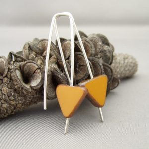 Tan Czech Glass Triangle and Sterling Silver Earrings