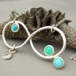 Sterling Silver and Amazonite, Chrysoprase, Topaz, and Turquoise Infinity Pendant