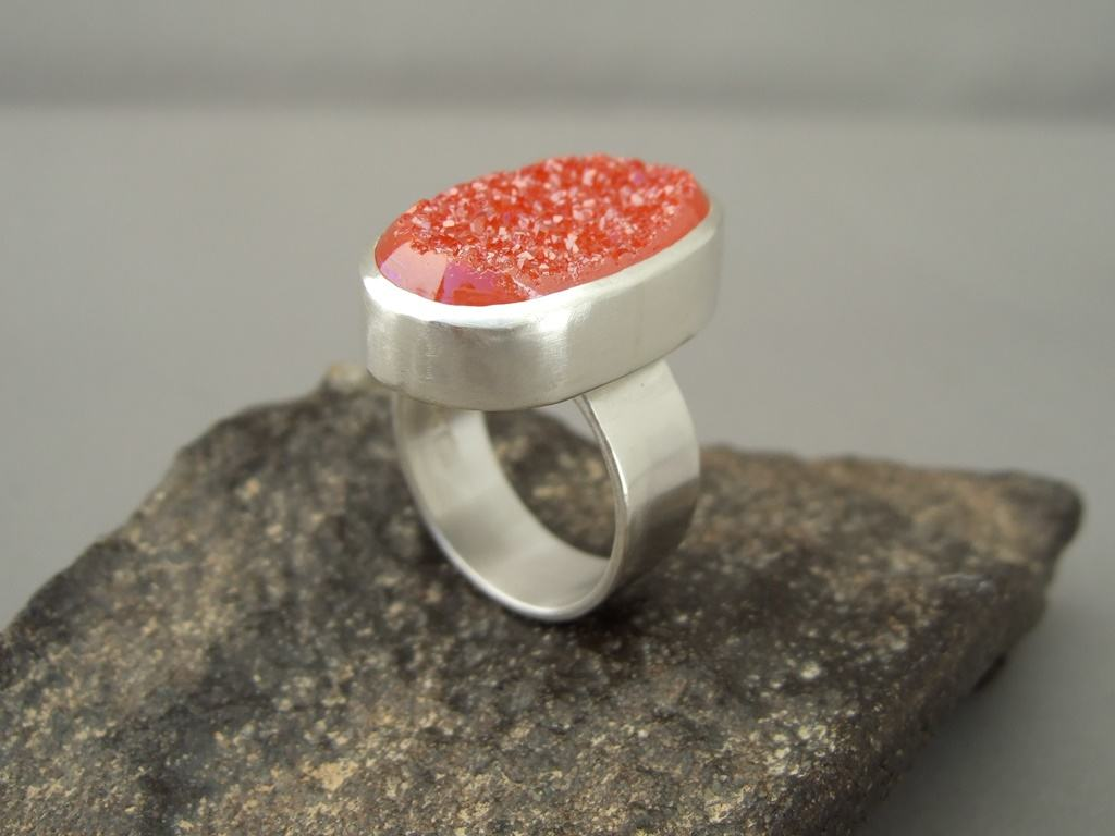 Orange Titanium Coated Drusy Agate and Sterling Silver Ring