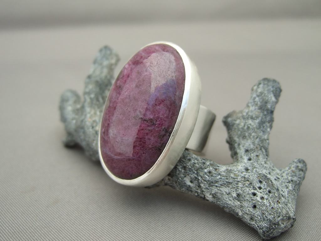 Ruby Zoisite and Sterling Silver Ring