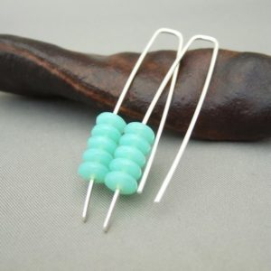 Aqua Green Stacked Czech Glass and Sterling Silver Earrings
