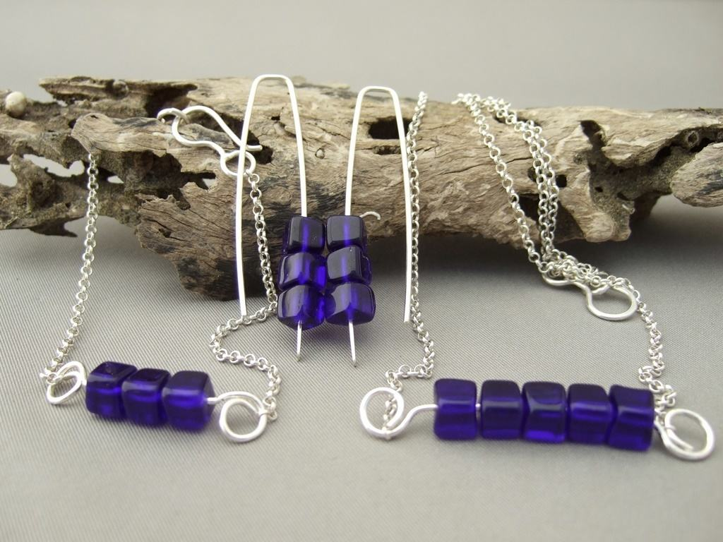 Indigo Blue Cube Czech Glass and Sterling Silver Jewellery Set