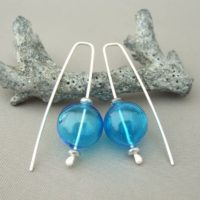 Sky Blue Handblown Glass Bubble and Sterling Silver Earrings