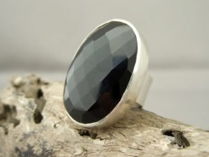 Faceted Black Onyx and Sterling Silver Ring