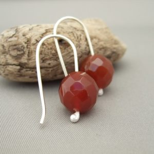 Red Agate and Sterling Silver Earrings