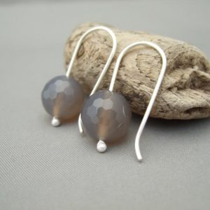 Grey Agate and Sterling Silver Earrings