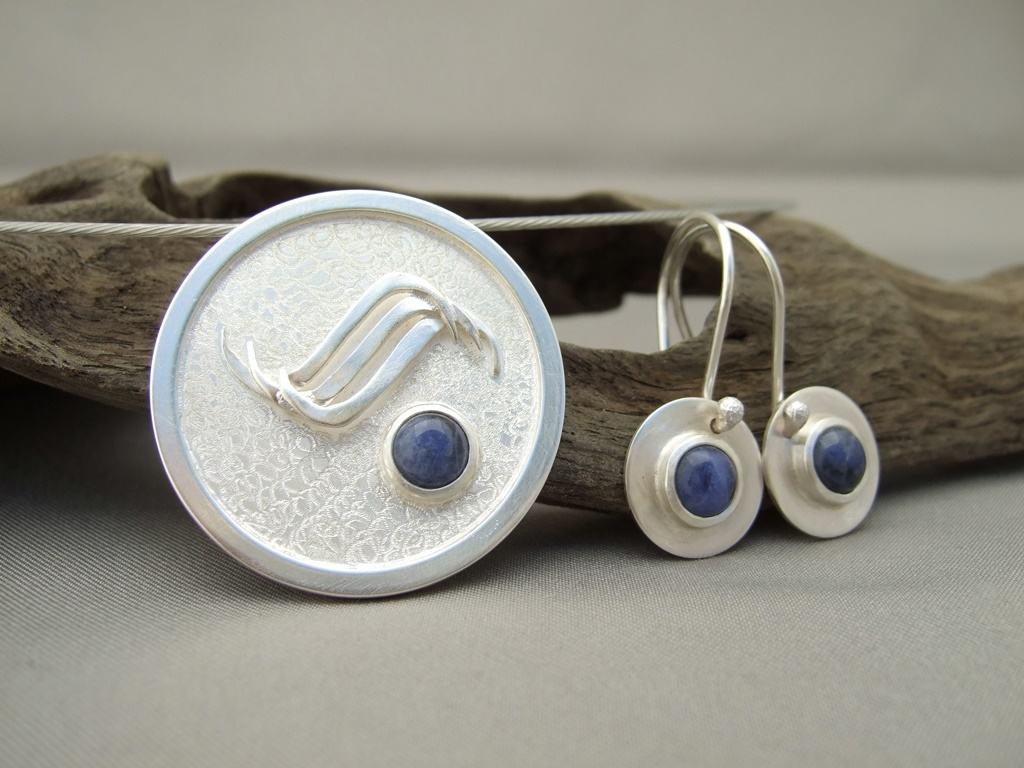 Sodalite and Sterling Silver Pendant and Earrings Set